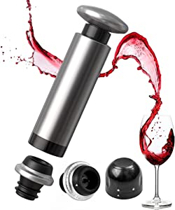 Siivton Wine Saver Vacuum Pump with 2 Wine Bottle Stoppers & Champagne Sealer, Stainless Steel