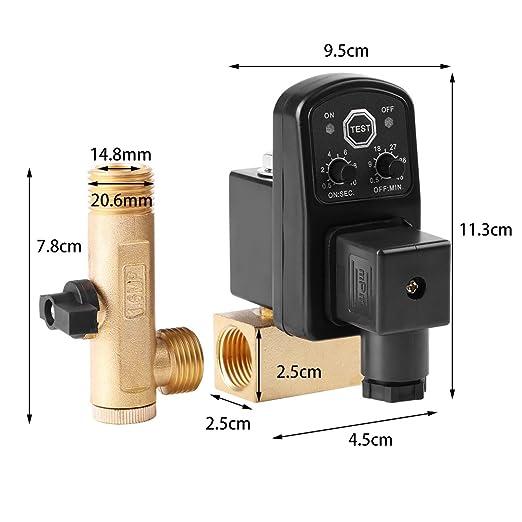 G1 / 2 DN15 Válvula de drenaje automática,Válvula de drenaje temporizada electrónica automática para la gestión de condensado del compresor de aire ...