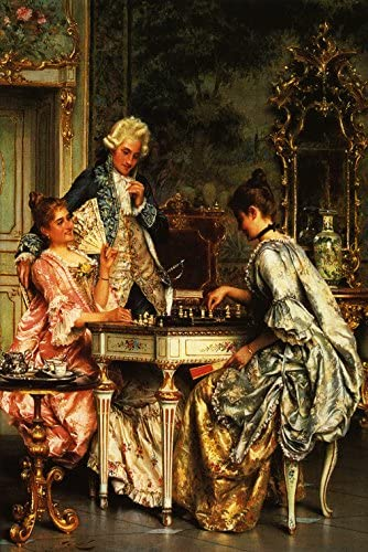 """B011LVGSQG WONDERFULITEMS The Game of Chess Girls Playing Being OBSERVED by Young Gentleman Painting by Arturo Ricci Image Size 16"""" X 24"""" ON Canvas REPRO 61pJYRz4sWL"""