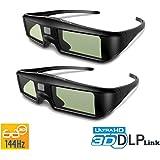 ExquizOn 2 x Occhiali 3D Ricaricabile Occhiali 3D G06-DLP Link Attivi 96-144Hz per Il proiettore DLP, 3D proiettore Optoma/BenQ/ Acer/ViewSonic/ Vivitek(Nero)