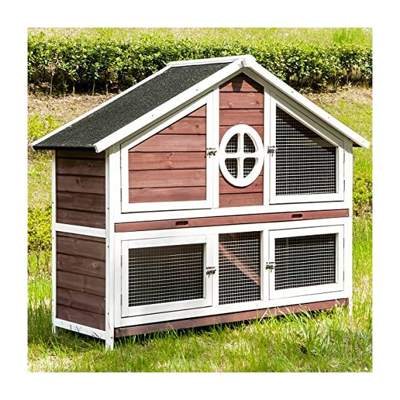 Purlove Rabbit Hutch Wood House Pet Cage Small Animals (Rabbit Hutch #3)