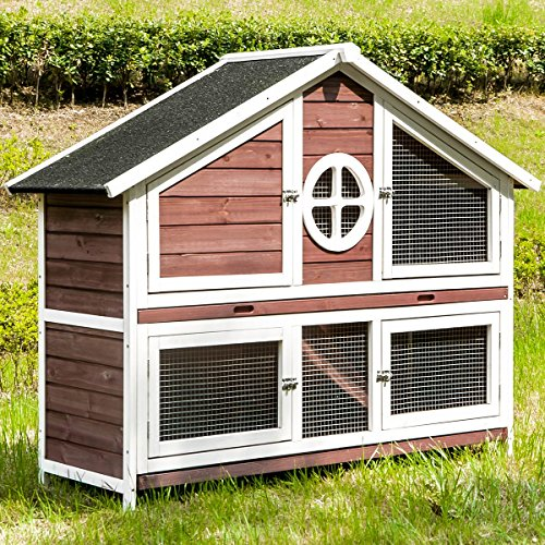 Rhomtree Large Wooden Rabbit Hutch Chicken Coop Bunny Animal Hen Cage House Great for Rabbits, Chickens, Ducks, and Other Poultry (Red) from Rhomtree