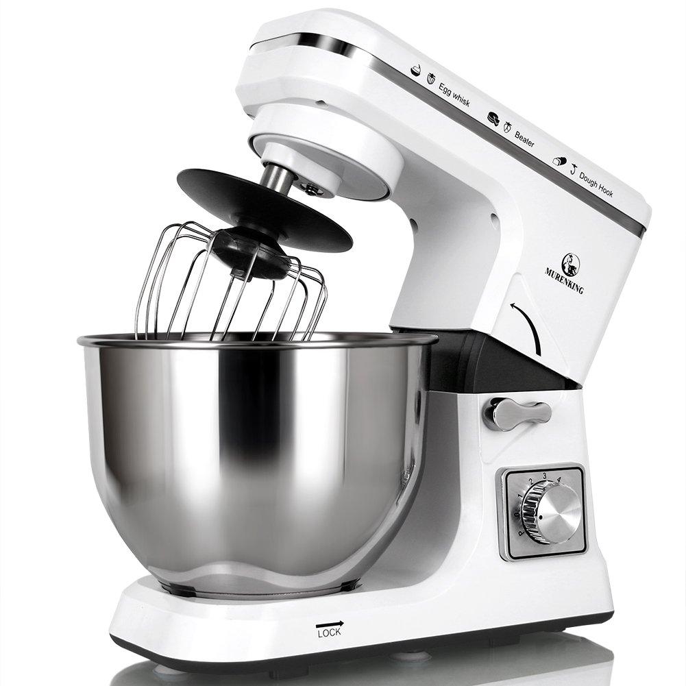 MURENKING Stand Mixer MK36 500W 5-Qt 6-Speed Tilt-Head Kitchen Food Mixer with Accessories (Black)