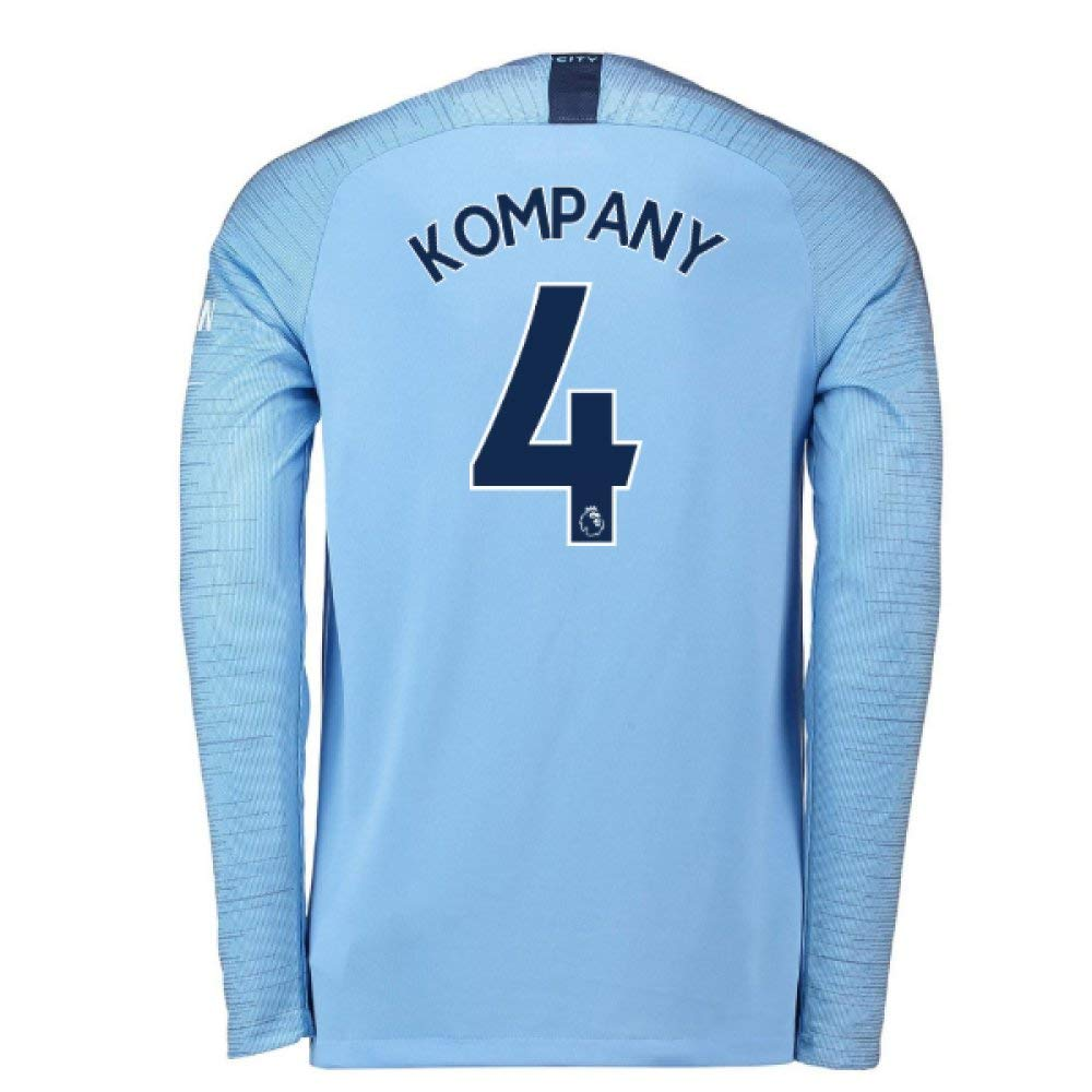 2018-2019 Man City Home Nike Long Sleeve Football Soccer T-Shirt Trikot (Vincent Kompany 4)