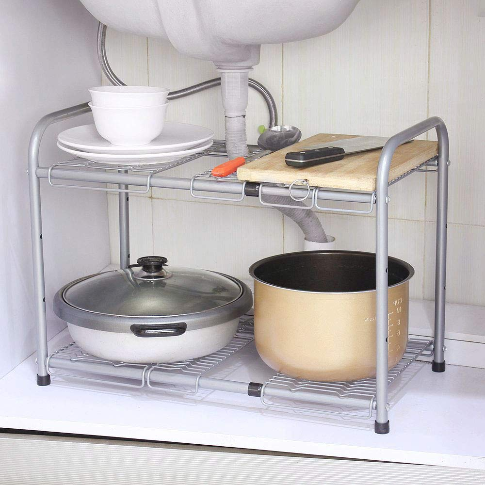 Sliver NEX Under Sink Shelf Organizer 2 Tier Expandable Storage Rack for Bathroom Kitchen Cabinets Expand from 15 to 27