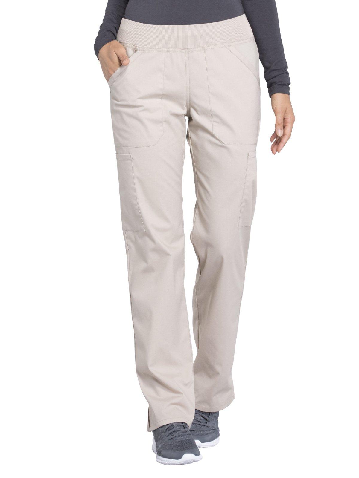Cherokee Professionals by Workwear Women's Elastic Waistband Pull On Cargo Scrub Pant Large Khaki