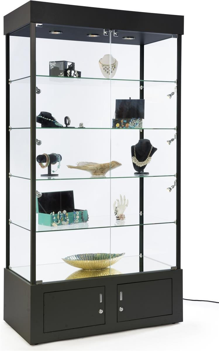 Displays2go, Lighted Full Vision Retail Cabinets, Aluminum, Melamine, Tempered Glass Build – Black Finish (SMPLTW02BK)