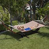 Belleze 13FT Wooden Curved Arc Hammock Stand w/ Cotton Hammock Outdoor Garden Patio w/ Tablet and Cup Holder