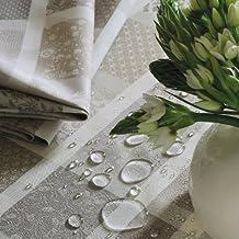Garnier Thiebaut Coated Tablecloth Mille Ladies Argile 69 x 69 Inch Square