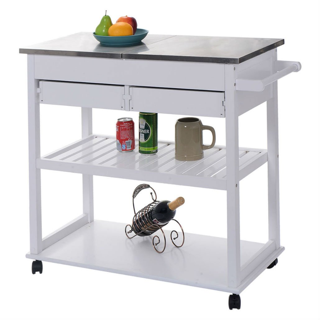 White Rolling Kitchen Trolley Cart Stainless Steel-Flip Top W/Drawers &Casters by Unknown