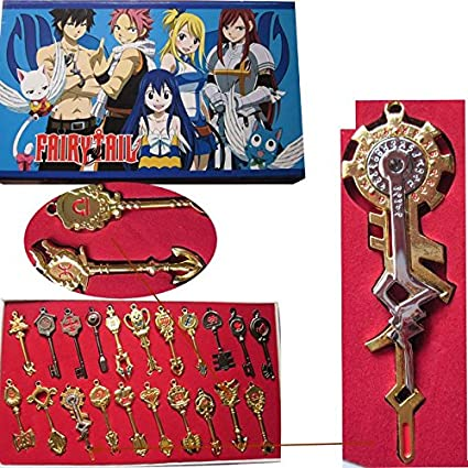 Luxury Anime Fairy Tail Golden Zodiac Keychain Classic Collection 12pcs Per Set
