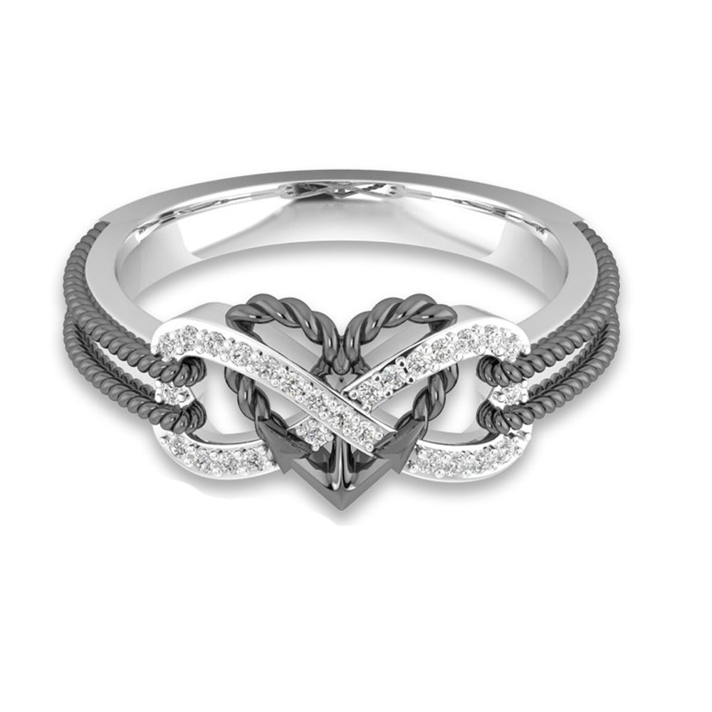4c6fbc205e9 Top20  YOUNICE Women s Heart Rings Infinity Rings Vintage Cupid s Arrow  Shank CZ Two-Tone Bridal Engagement Wedding Promise