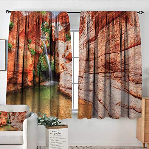 (Curtains for Living Room Americana,Elves Chasm Colorado River Plateau Creek Grand Canyon Image Print,Scarlet Green Light Brown,Decor Collection Thermal/Room Darkening Window Curtains 42