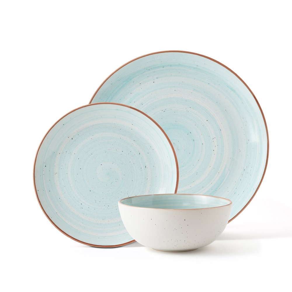 Bonplet Redondo Blue 12 Piece Stoneware Dinner Set