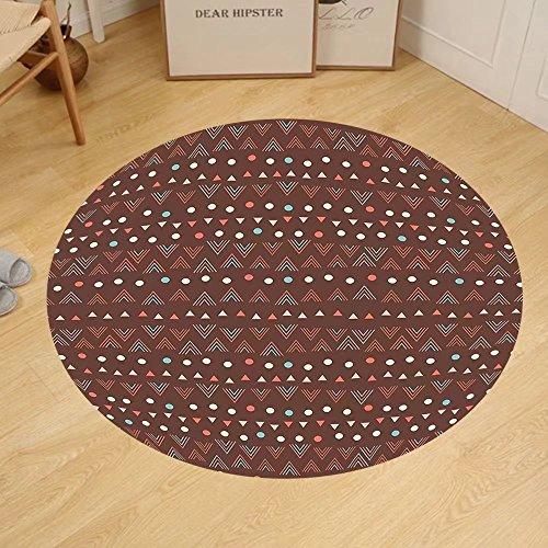 Gzhihine Custom round floor mat Tribal Ethnic Image with Wave Like Zig Zag Borders and Polka Dots Abstract Backdrop Artwork Bedroom Living Room Dorm Dark - Brown Roun