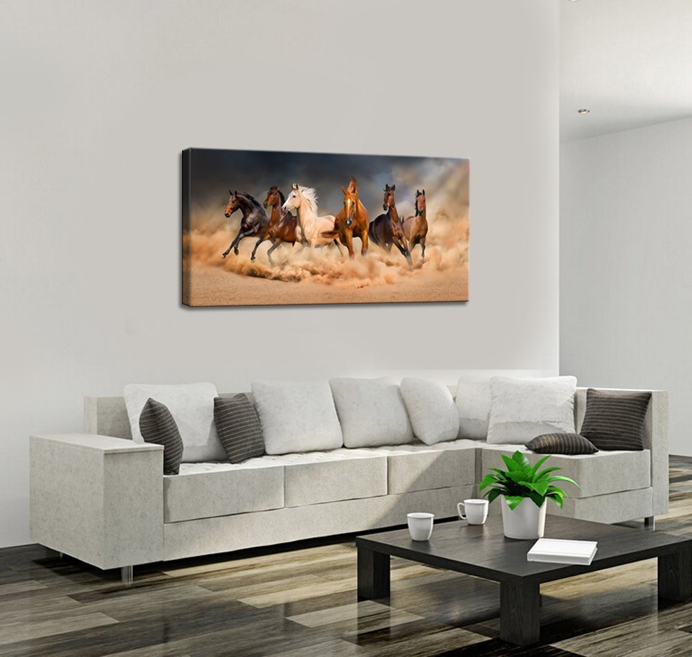 Amazon.com: Live Art Decor - Large Size Running Horse Canvas Wall ...