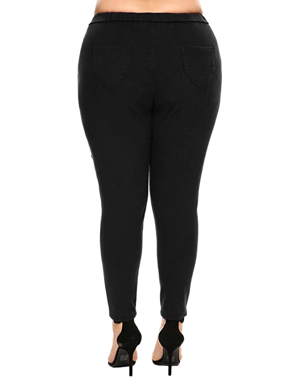 3482e129ac5 Vansop Women Plus Size High Waist Stretch Skinny Slim Solid Ankle Pencil  Pants at Amazon Women s Clothing store