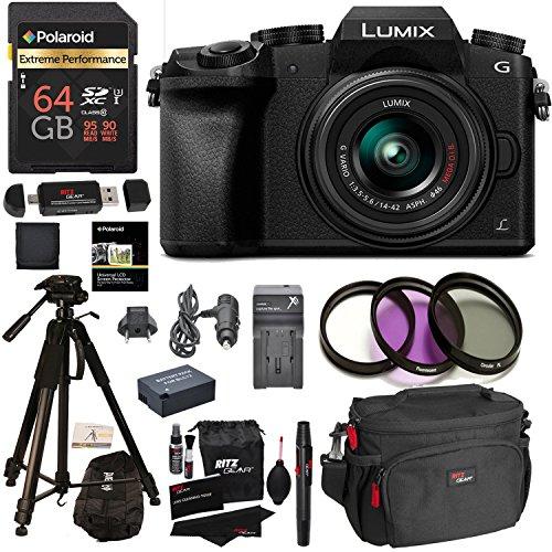 Panasonic DMC-G7KK Digital Single Lens Mirrorless Camera 14-42 mm Lens Kit 4K, Accessory Bundle, Polaroid 64GB, Polaroid 72