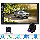 Podofo Car Stereo Audio Double Din Radio, 7'' Touchscreen Digital LCD Monitor,MP3/USB/SD AM/FM, Bluetooth, Wireless Remote Control,Rear View Camera
