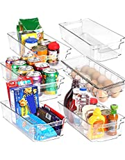KICHLY (Set of 6) Refrigerator Organizer - Include 6 Organizer 5 Drawers & 1 Egg Holding Tray, Stackable Fridge Organizers for Freezer, Kitchen, Countertops, Cabinets (6-Piece)