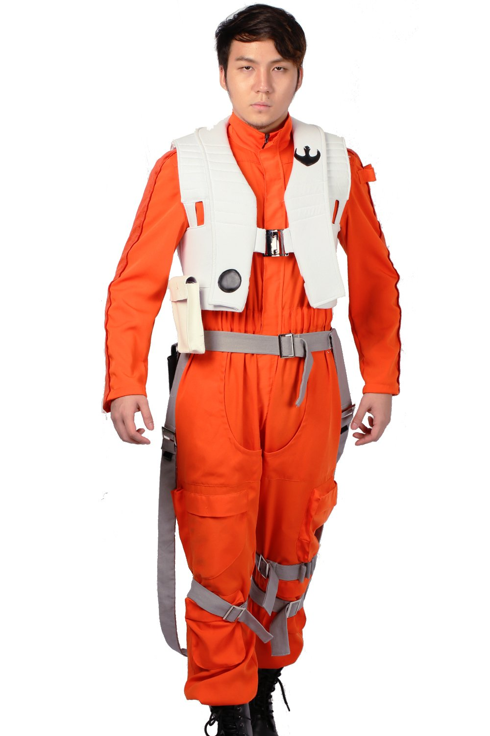 XCOSER Poe Dameron Costume Deluxe Orange Jumpsuit Suit Halloween Cosplay Outfit XL by xcoser (Image #2)