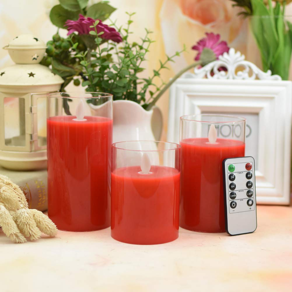 Flickering Flameless Candles with Glass Holder, Set of 3(H4\