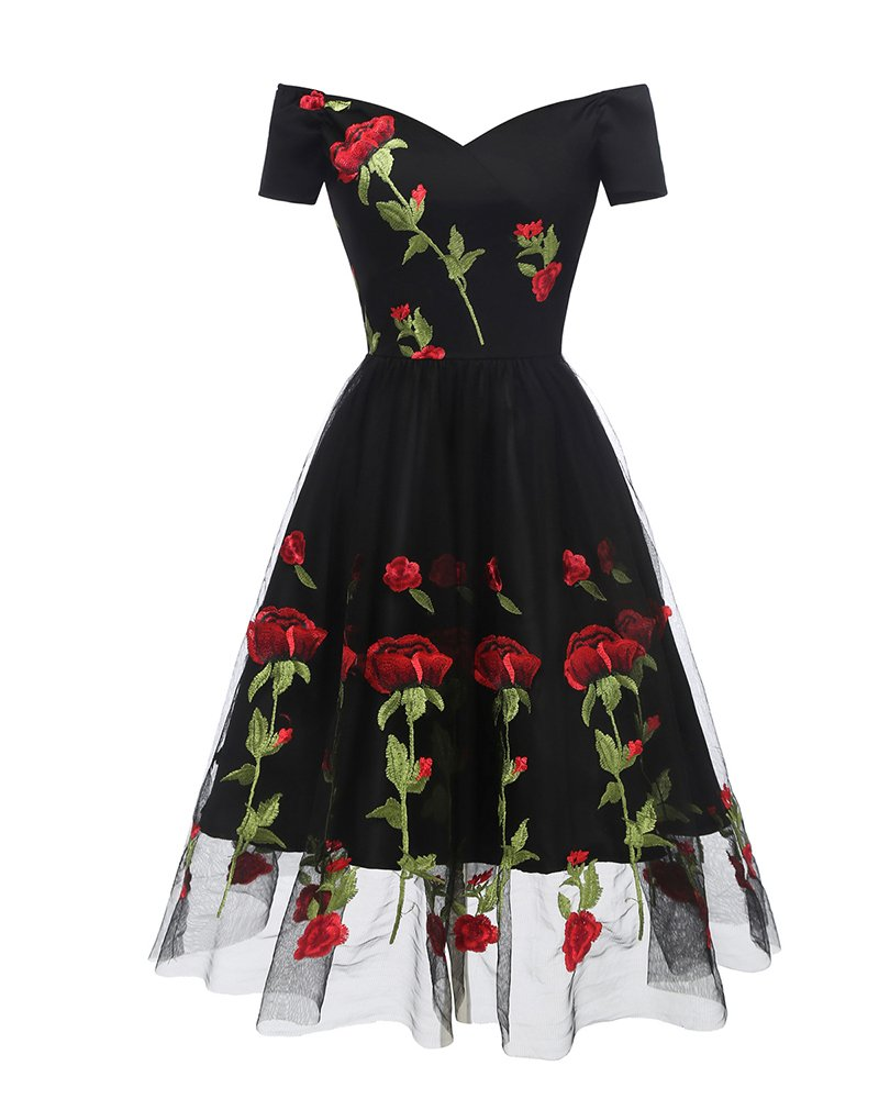 Aofur Women's Vintage Style Rose Embroidered 1950s Rockabilly Evening Party Lace Swing Tea Dress A Line Dresses (Small, Black_Red_Rose)