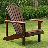 Belham Living Richmond Curveback Shorea Wood Deluxe Adirondack Chair, Durable and Sturdy Wood Made, Smooth Oiled Finish