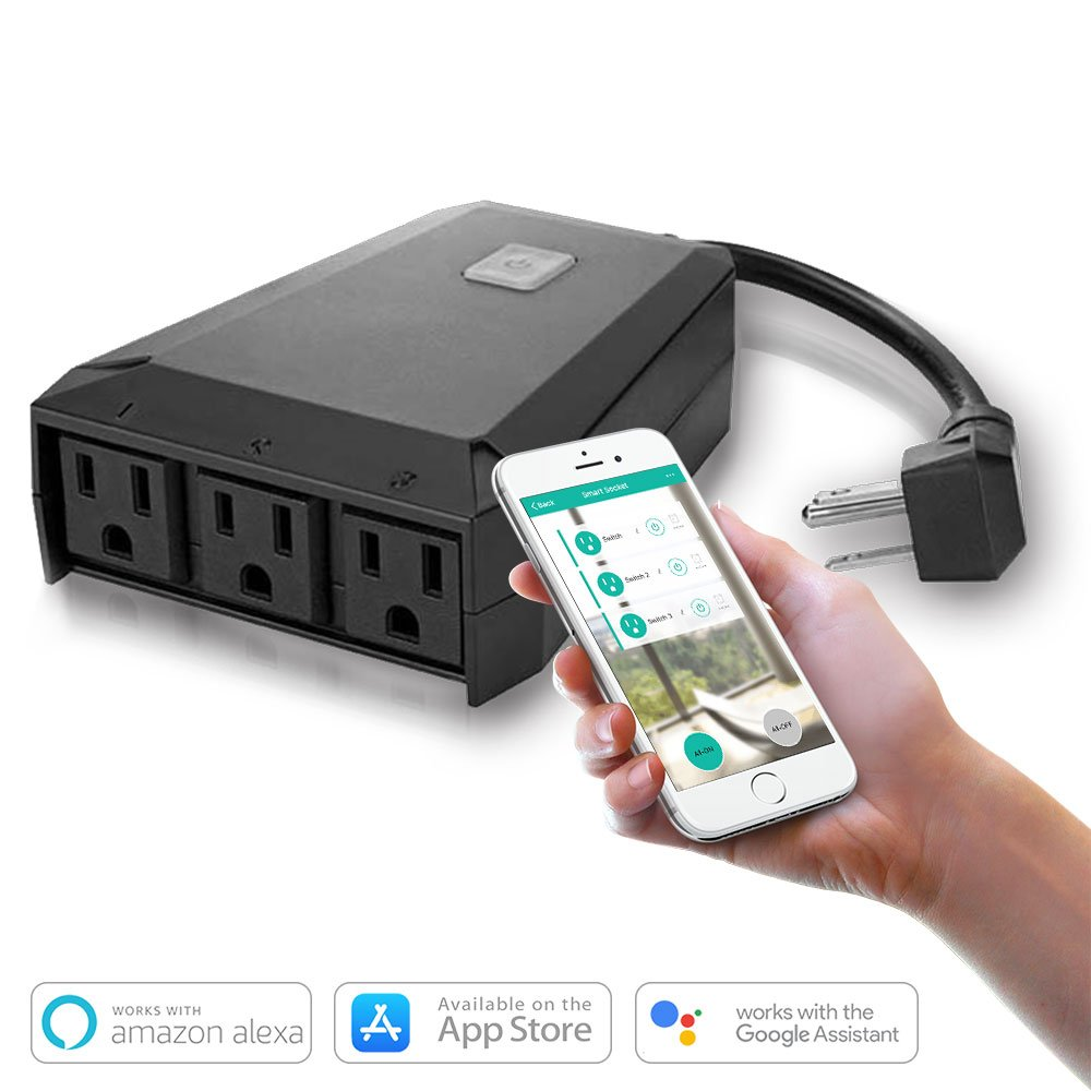 TIKLOK WIFI Outdoor Outlet Smart Plug (1 in 3 out) IP44 Waterproof, Remote Wireless Control Anywhere with Timer Function on Smartphone Android iOS, Work with Amazon Alexa Google Home, No Hub Required