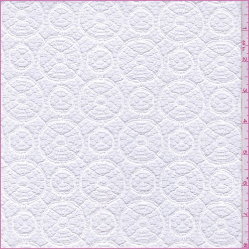 Cotton Shirting Fabric - White Circular Crochet Lace, Fabric by The Yard
