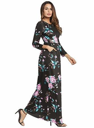 ZhuXin Vestido de playa de verano, vestido de estampado floral Maxi de color blanco azul