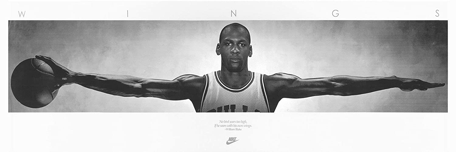 """Niwo Art (TM - Michael Jordan Wings, Sports Poster, Peel and Stick Removable Wall Decals Stickers (72""""x24"""")"""