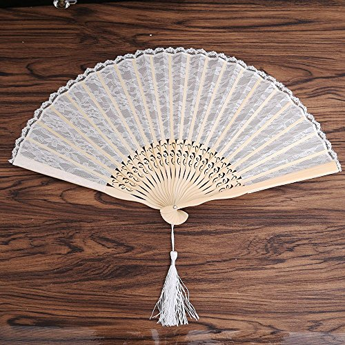 NUOMI Lace Folding Fan Handheld for Women Handmade Bamboo Folded Fans, Decorative Party Favor Gift
