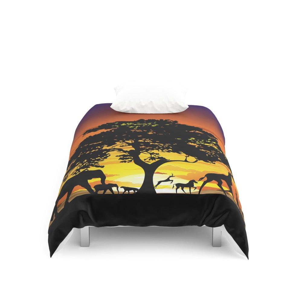 Society6 Wild Animals on African Savanna Sunset Duvet Covers Twin: 68'' x 88''