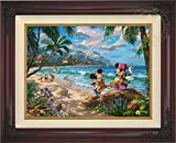 Thomas Kinkade Disney Mickey and Minnie in Hawaii 18'' x 24'' Standard Number (S/N) Limited Edition Canvas (Brandy Frame)