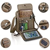 Harwish Men's Multifunctional Canvas Messenger Handbag Outdoor Sports Over Shoulder Crossbody Side Bag (Coffee) offers