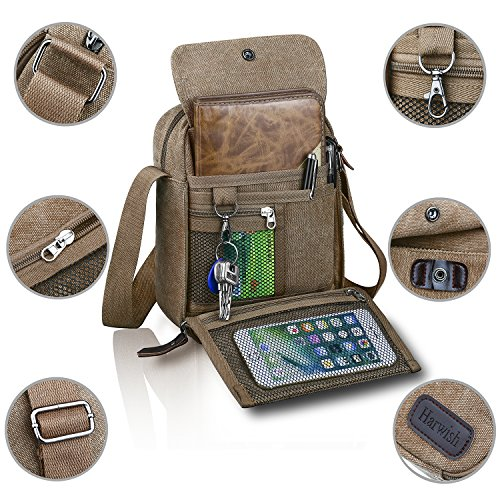 Price comparison product image Harwish Men's Multifunctional Canvas Messenger Handbag Outdoor Sports Over Shoulder Crossbody Side Bag (Coffee)