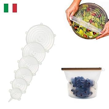Shurit Tapas Silicona Ajustables Cocina Universal Elásticas 6 Set Extensible Reutilizable Hermético para Horno Microondas -