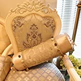 MeMoreCool Royal Style Luxury Color Floral Patterns Candy Pillow Cover Glitter Balls Fringe Home/Hotel/Car/Office Decor No Filler 6 x 20 Inch Golden