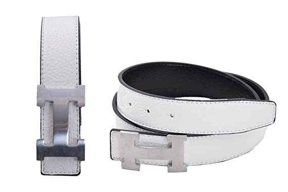 2f999ea50 Women's H Reversible Leather Belt With Removable Buckle - White ...