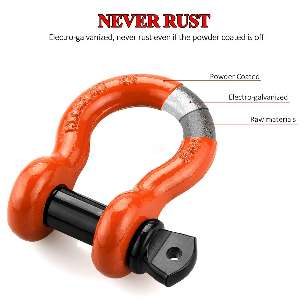 LIBERRWAY Shackles 3/4'' (2 Pack) D Ring Shackle Rugged Off Road Shackles 28.5 Ton (57,000 lbs) Maximum Break Strength with 7/8'' Pin Heavy Duty D Ring for Jeep Vehicle Recovery, Orange by LIBERRWAY (Image #3)