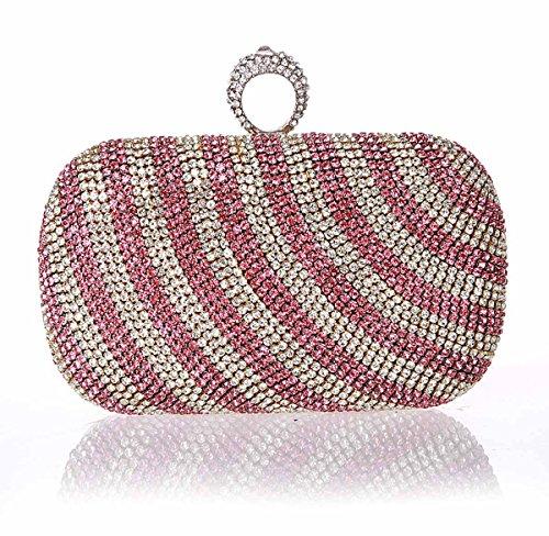 Luxe de KAXIDY Cristal de vin à Sac Rouge Sac Femme Bandoulière Main Soiree Pochette Mode Diamant Soirée Chaîne Mariage Argent EqqdxwrFp