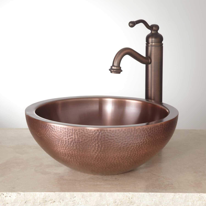 Signature Hardware 346798 Casalina 14 Circular Double Wall Hammered Copper Vessel Bathroom Sink