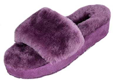 f366498086d Image Unavailable. Image not available for. Color  DREAM PAIRS Women s New  Spa-01 Purple Faux Fur Slide Fluffy Comfy Winter Slippers Size