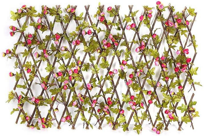 Bitcircuit Artificial Privacy Fence Screen, Wooden Hedge Flower Garden Screening Expanding Trellis Privacy Screen, Two Colors Buds Leaves Garden Decoration Expanding Trellis Privacy Screen