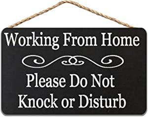 Working from Home Please Do Not Knock Or Disturb Wood Sign 8x12 inch / 20x30 cm