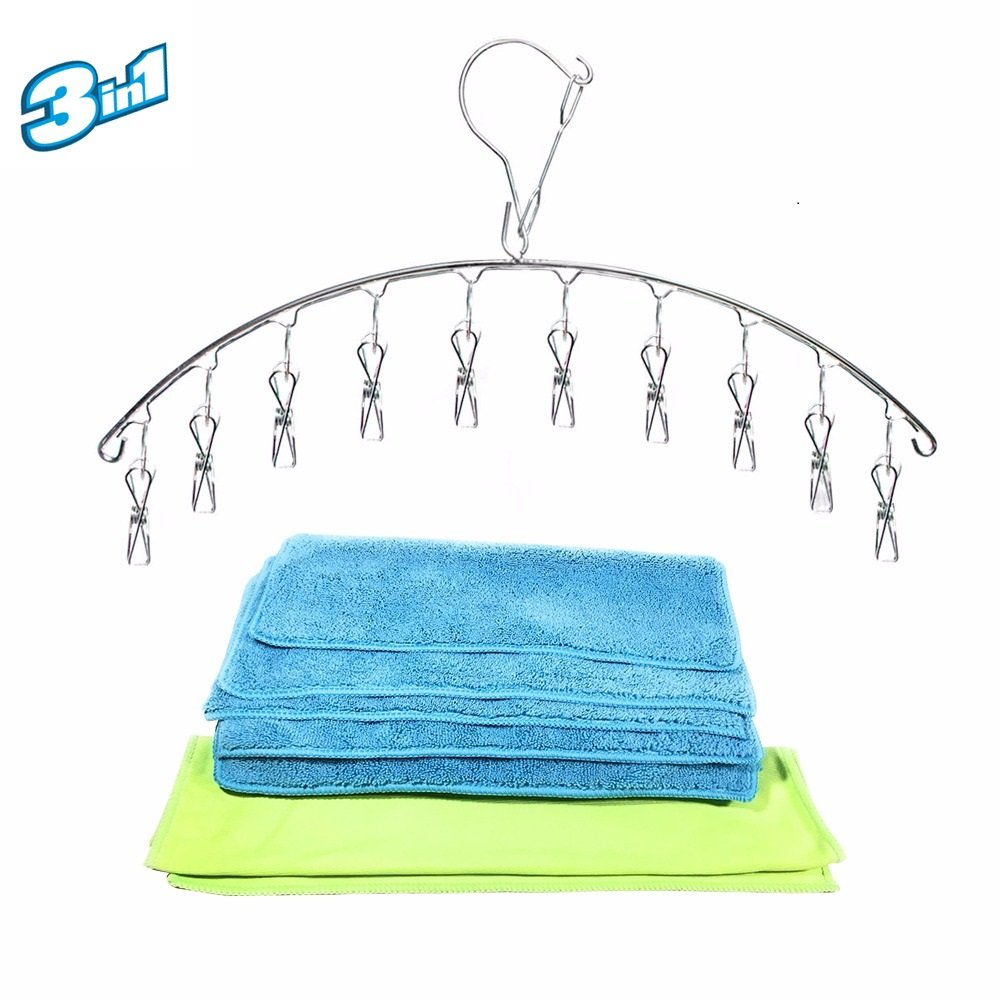 Premium Pack Bundle 5 Microfiber Cleaning Cloths 350GSM + Glass Cleaning Microfiber Cloth + Steel Hanger with Clips/ Car, Kitchen, Windows, Mirror / Micro-Fiber Rags, Towels Blue and Green / Reusable