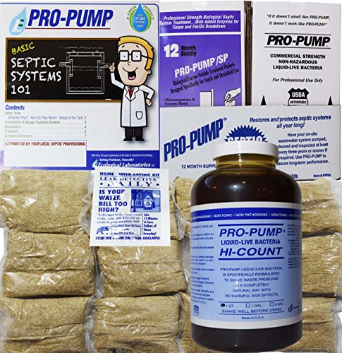 (Pro Pump Septic Tank Treatment-1 Year Supply- Upgrade Your System Flushable Living Bacteria 12 Biodegradable Enzyme Packets 2 Toilet Leak Detection Tabs. Septic Treatment Made in USA!!)
