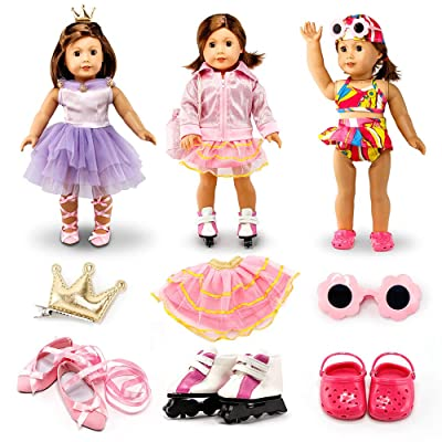 "Oct17 Fits Compatible with American Girl 18"" Sports Outfit 18 Inch Doll Clothes Costume 3 Sets Ballet Skating Swimming Accessories: Toys & Games"
