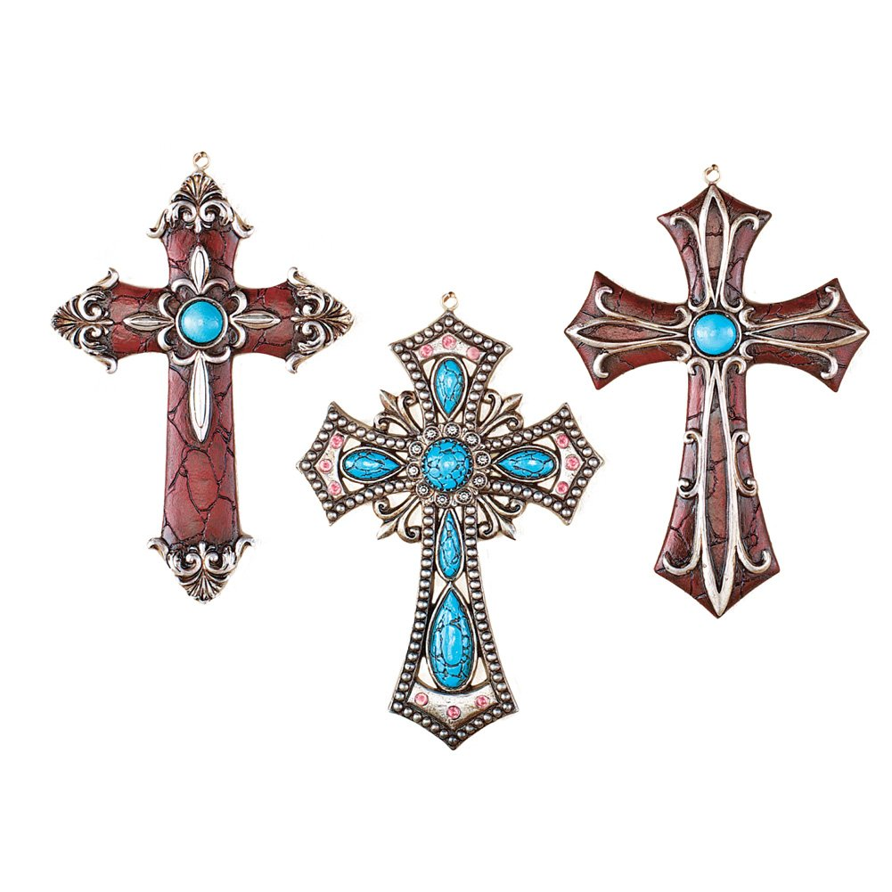 Collections Etc Western Hanging Cross Wall Decor - Set of 3